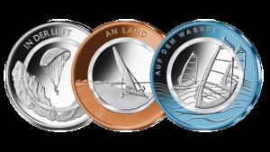 """Serie: """"Klimazonen der Erde"""". 10 Euro Sammlermünze """"Auf dem Wasser"""" (rechte Münze)"""